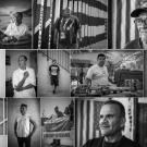 black and white collaged photo images of people recently deported