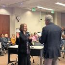 Photo of UC Davis alumna Heidi Sanborn taking oath of office as SMUD board member