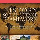 "Cover illustration with world map and title ""History Social Science Framework"""