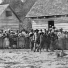 Historic photo of freed slaves standing in front of buildings