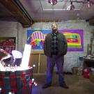 Tavarus Blackmon in his studio at Headlands Center
