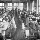 historic photo of women at sewing machines in a factory
