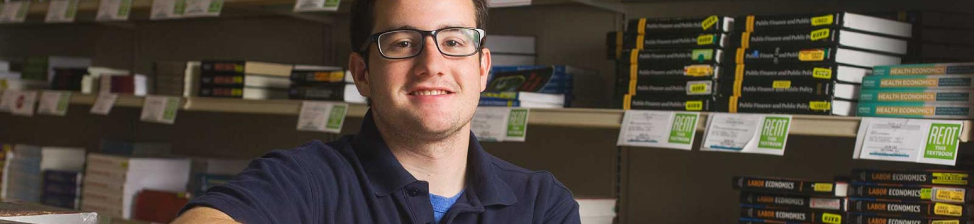 "In 2015, UC Davis senior Andrew Musca, an environmental science and management major,  was named Northern California Student Employee of the Year by a college student employee association. An employee for UC Davis Stores for three years, Musca said, ""The job taught me that business really excites me."" (Karin Higgins/UC Davis)"