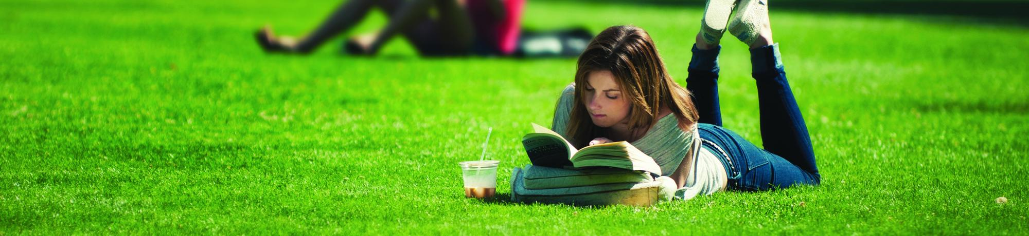 Reading on the quad at UC Davis
