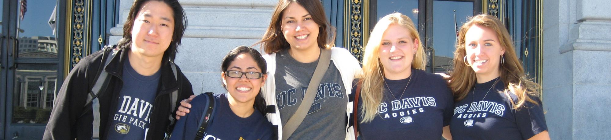 UC Davis students pose for photo on steps of San Francisco City Hall