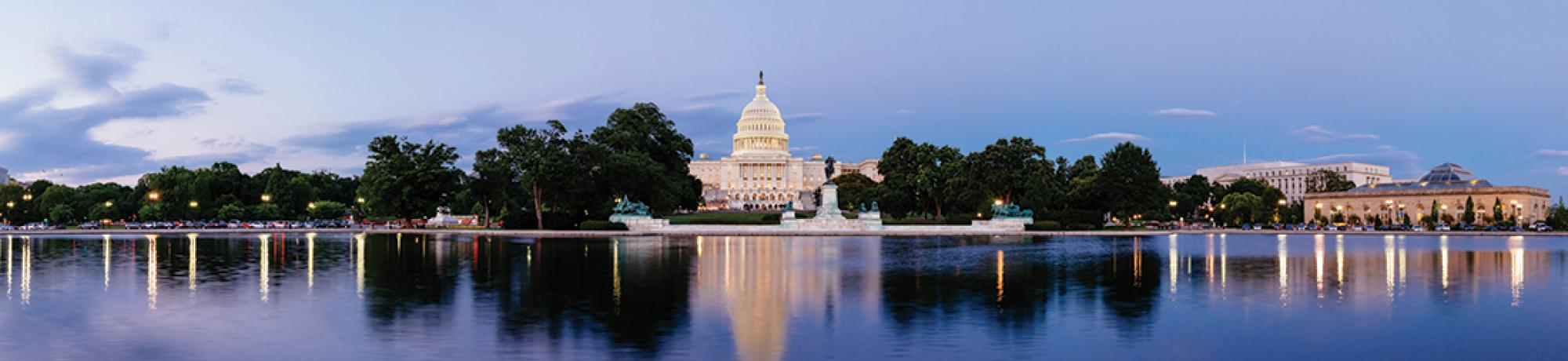 Photo of U.S. capitol building seen from the National Mall
